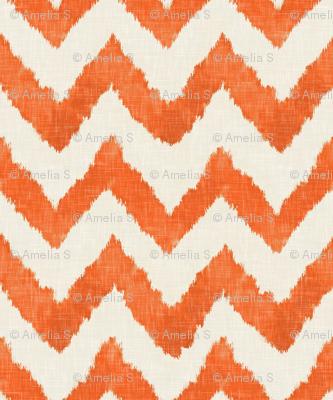 Tangerine and Linen Watercolor Ikat Chevron