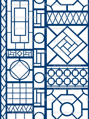 Trellis In Navy Blue Wallpaper Danika Herrick Spoonflower