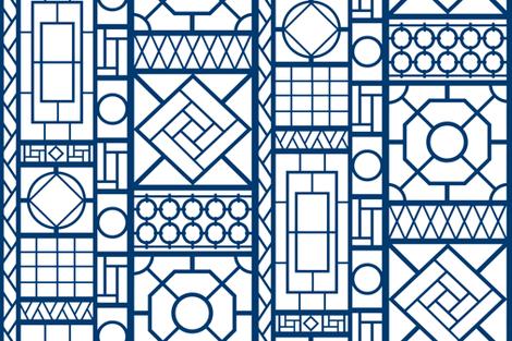 trellis_in_navy blue fabric by danika_herrick on Spoonflower - custom fabric