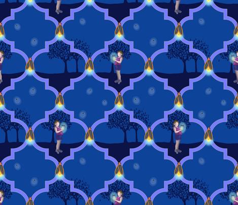 Summer Garden Dancing Fireflies fabric by shellypenko on Spoonflower - custom fabric