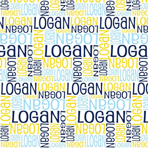 Personalised Name Fabric - Blues Yellow