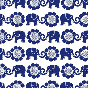 Tribal Elephants and Flowers