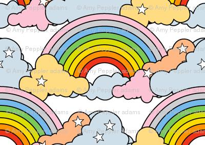Rainbows to the Max (White)    rainbow clouds stars 80s retro pop art pride children kids baby nursery