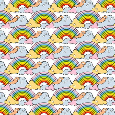 Rainbows to the Max (White) || rainbow clouds stars 80s retro pop art pride children kids baby nursery fabric by pennycandy on Spoonflower - custom fabric