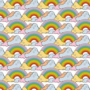 Rainbows to the Max (White) || rainbow clouds stars 80s retro pop art pride children kids baby nursery