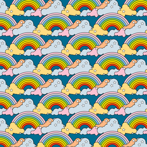 Rainbows to the Max (Blue) || rainbow clouds stars 80s retro pop art pride children kids baby nursery fabric by pennycandy on Spoonflower - custom fabric