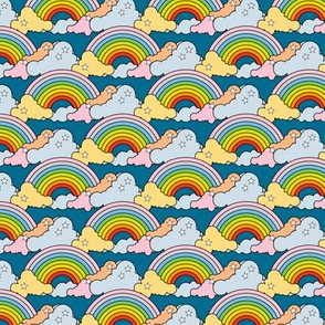 Rainbows to the Max (Blue) || rainbow clouds stars 80s retro pop art pride children kids baby nursery