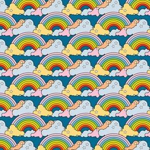 Rainbows to the Max (Blue) || rainbow clouds stars 80s retro pop art pride children kids baby nursery