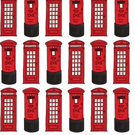 London Calling post box phone box fabric by hazel_fisher_creations on Spoonflower - custom fabric
