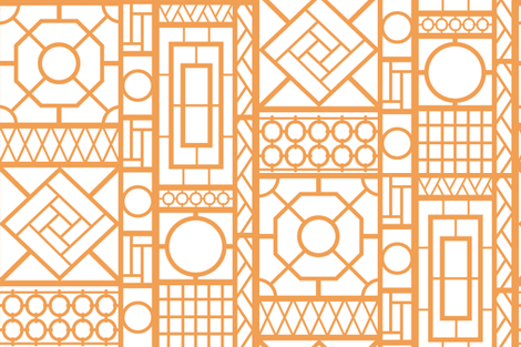 trellis_in_orange fabric by danika_herrick on Spoonflower - custom fabric
