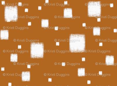Burnt Orange with White Squares
