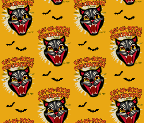 Kat-Ka-Boom Firecrackers on Mustard fabric by retrorudolphs on Spoonflower - custom fabric