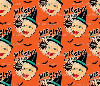 Wiggley Witch Heads on Orange
