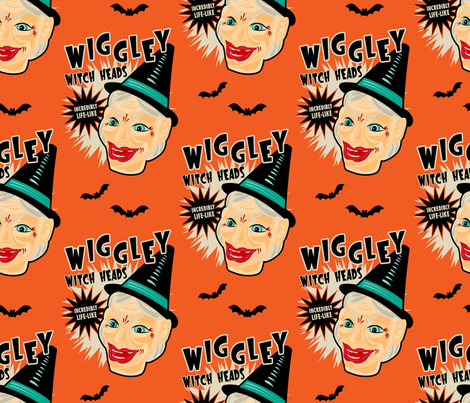 Wiggley Witch Heads on Orange fabric by retrorudolphs on Spoonflower - custom fabric