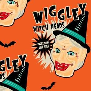 Wiggley Witch Heads on Orange