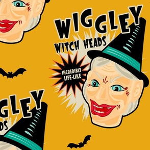 Wiggley Witch Heads on Mustard