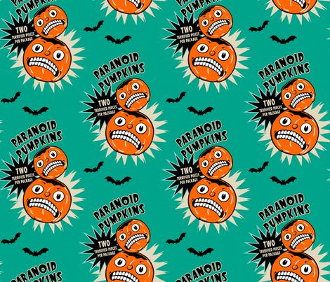 Paranoid Pumpkins on Teal fabric by retrorudolphs on Spoonflower - custom fabric