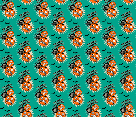 Paranoid Pumpkins on Teal (smaller scale) fabric by retrorudolphs on Spoonflower - custom fabric