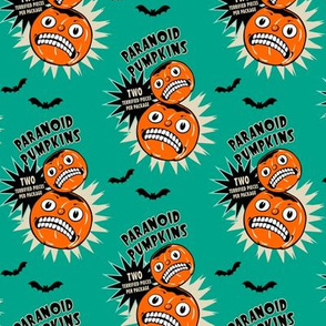 Paranoid Pumpkins on Teal (smaller scale)
