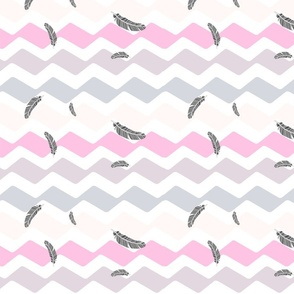wave chevron with feathers - girl