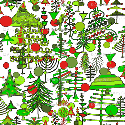 Christmas Tree Holiday Doodle red and green