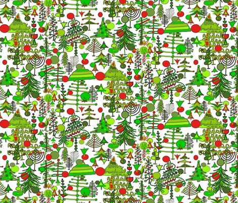 Christmas Tree Holiday Doodle red and green fabric by amy_g on Spoonflower - custom fabric