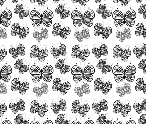 Butterflies-Black and gray fabric by sewbiznes on Spoonflower - custom fabric