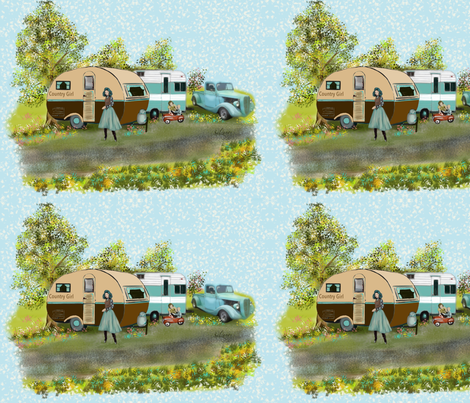 Country Girl Camping fabric by salzanos on Spoonflower - custom fabric