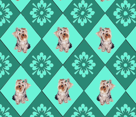 Yorkies_and_Diamonds fabric by dogdaze_ on Spoonflower - custom fabric