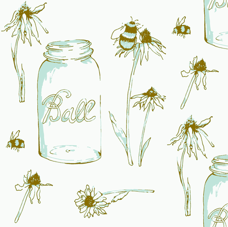 flower & bees Blue Brown fabric by fat_bird_designs on Spoonflower - custom fabric