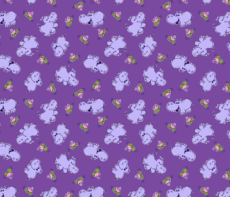 HIPPOS and WATER LILIES fabric by norncutson on Spoonflower - custom fabric