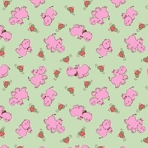 HIPPOS and WATER LILIES - PISTACHIO