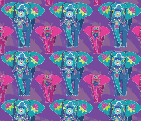 Fauvist Elephant Festival fabric by shellypenko on Spoonflower - custom fabric