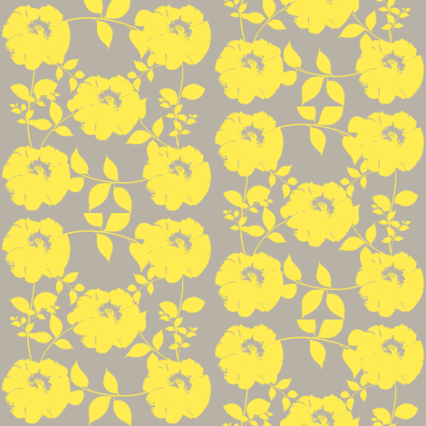 Floral pattern with leaves, yellow fabric by katiemadeit on Spoonflower - custom fabric