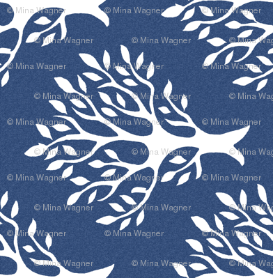Tree-stamp-fabric1 - Linen teatowel - white-DK-BLUE- rotated