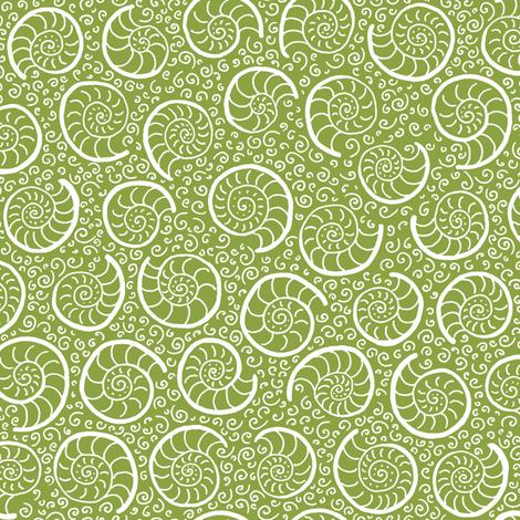 ammonites - moss green fabric by weavingmajor on Spoonflower - custom fabric