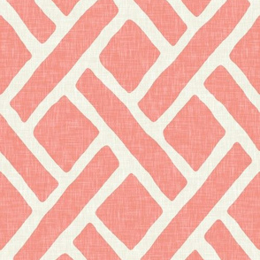 Savannah Trellis in Light Coral Linen