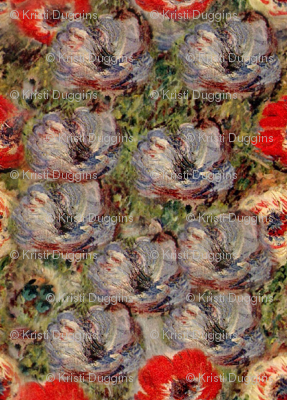 Monet Blue Anemones Red Green Floral