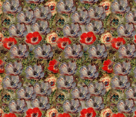 Monet Blue Anemones Red Green Floral fabric by bohobear on Spoonflower - custom fabric