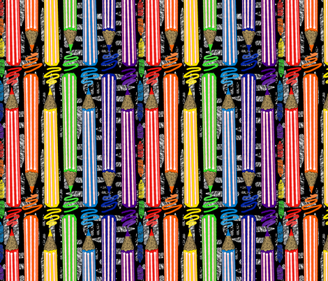 Colored Pencils black  fabric by amy_g on Spoonflower - custom fabric