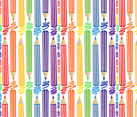 Colored Pencils white  fabric by amy_g on Spoonflower - custom fabric