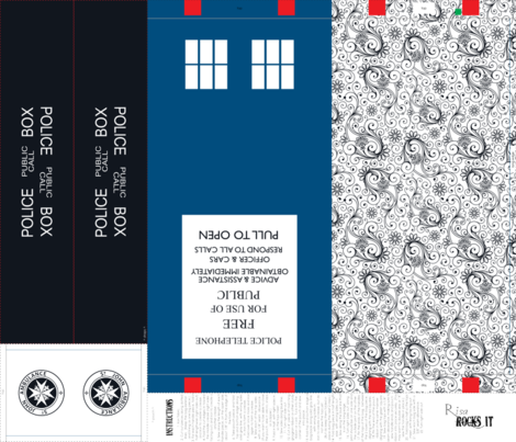 Police Box inspired tote bag fabric by risarocksit on Spoonflower - custom fabric