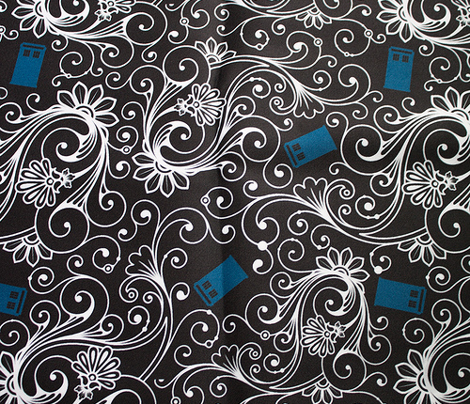 Blue Phone Boxes and White Swirls on Black