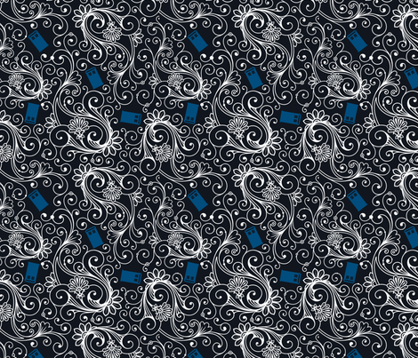Blue Phone Boxes and White Swirls on Black fabric by risarocksit on Spoonflower - custom fabric