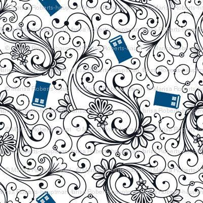 Blue Phone Boxes and Black Swirls on White - Large Swirls