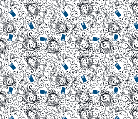 Blue Phone Boxes and Black Swirls on White - Large Swirls fabric by risarocksit on Spoonflower - custom fabric