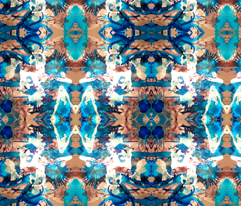 Blue and silver tribal bliss fabric by annheineck on Spoonflower - custom fabric