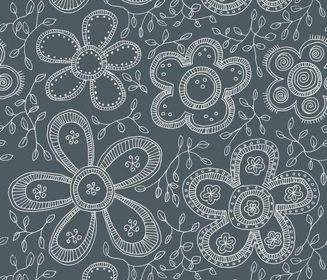 Gray fashion flowers fabric by celebrindal on Spoonflower - custom fabric