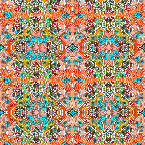 Blue Daisy Retro Slink fabric by edsel2084 on Spoonflower - custom fabric