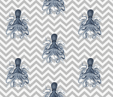 Octopus Oasis on Gray Chevron fabric by willowlanetextiles on Spoonflower - custom fabric
